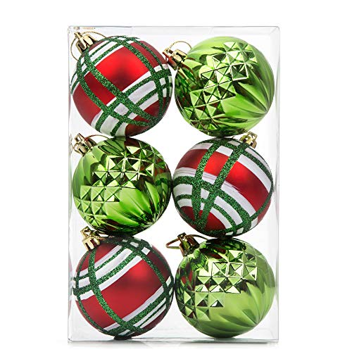 SANNO Christmas Balls Ornaments Glitter Ball Shatterproof Green/Red Xmas Tree Decorations for Parties,Holiday Decoration, 6Pcs, 60mm/2.36