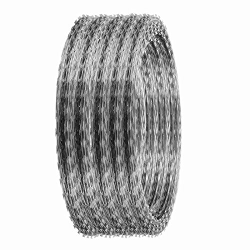 Popsport Razor Barbed Wire 18 Inch Ribbon Barbed Wire 5 Rolls 250 Feet Galvanized Barbed Wire Razor Wire Ribbon Barbed for Industrial and Home Use (Razor Wire) (Barbed Roll Wire)
