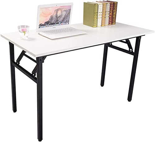 Halter Folding Computer Foldable Writing Study Table for Home Office Desk Use-White Black, 55 ,