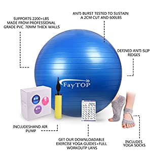 FayTOP 65cm Exercise Ball EXTRA THICK Frosted Surface 2200lb Capacity -Stability Ball, Yoga Ball, Birth Ball, Balance Ball, Pilates Ball, Fitness Ball -Includes: Yoga Socks, User Manual, Quick Pump by FayTOP