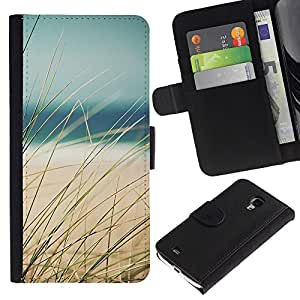 iKiki Tech / Cartera Funda Carcasa - Grass Beach Sea Sand Summer View - Samsung Galaxy S4 Mini i9190 MINI VERSION!