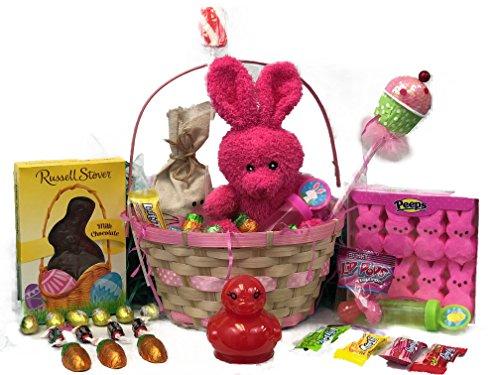 Pink Easter Basket for Girls - BONUS! Easter Gift Slime Basket - Filled Easter Basket with Premium Solid Milk Chocolate Easter Bunny - Lots of Easter Basket Candy - Easter Gift for Boys and Girls (Pink Gift Basket)