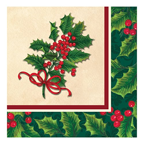 Creative Converting 317166 16 Count Paper Lunch Napkins, Boughs of Holly Bough Of Holly