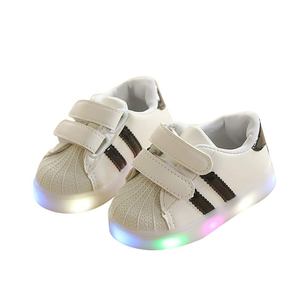 edv0d2v266 Toddler Kids Children Baby Shoes LED Light up Luminous Sneakers(Black 30/12MUSLittleKid) by edv0d2v266 (Image #1)