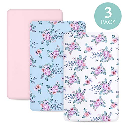 TILLYOU Jersey Knit Floral Pack N Play Sheets, Mini Portable Crib Sheets Set Fitted for Girls, Ultra-Soft Breathable Hypoallergenic Playard Playpen Sheets, Secret Garden
