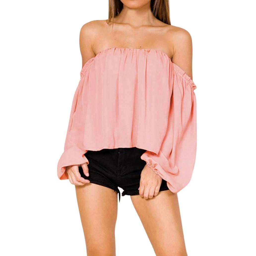Amazon.com : HOSOME Women Top Women Off Shoulder Casual Solid Long Sleeve Tops Blouse T-Shirt : Grocery & Gourmet Food