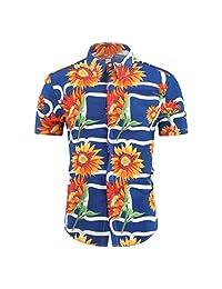 Casual Tops,Men's Turn-Down Collar Short Sleeve Sunflower Print Button Down T-Shirt