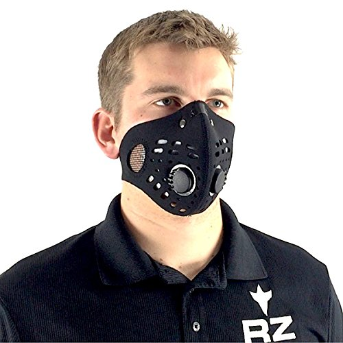 RZ Dust/Pollution Mask Bonus Pack w/5 Laboratory Tested Filters, Model M1, Black, Size Regular