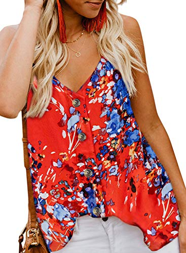 FARYSAYS Women's Cute Summer Sexy Bohemian Floral Print V Neck Adjustable Straps Button Down Tank Tops Orange - V-neck Top Floral