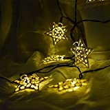Solar String Lights,Hann Waterproof Outdoor Solar Powered Globe Fairy String Lights for Garden, Yard, Home, Landscape,Christmas Party (1, 20 LEDs Metal Stars,Warm White)