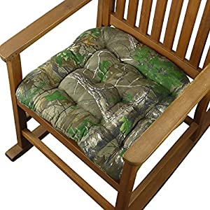 Realtree Xtra Green (R) Camo Rocking Chair Seat Cushion W/ Ties   Jumbo  (XXL / Extra Extra Large)   Tufted, Reversible