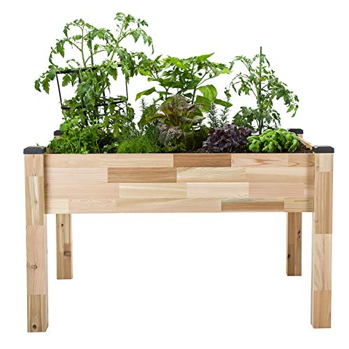 "CedarCraft Self-Watering Elevated Cedar Planter (23"" X 49"" X 30"") - Grow Fresh Vegetables, Herb Gardens, Flowers & Succulents. Raised Garden Bed for a Deck, Patio or Yard Gardening. No Tools Required."