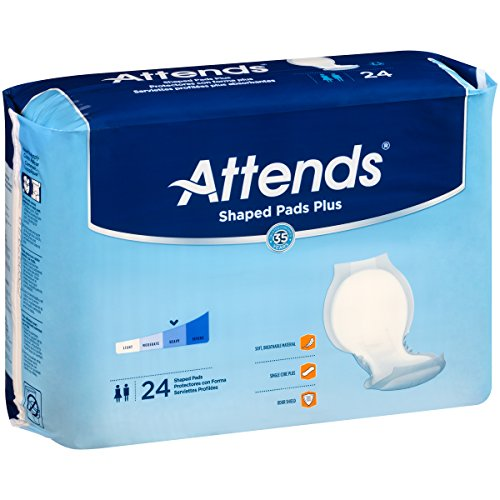 Attends Shaped Pads with Odor-Shield Technology for Adult Incontinence Care, Plus, 24.5