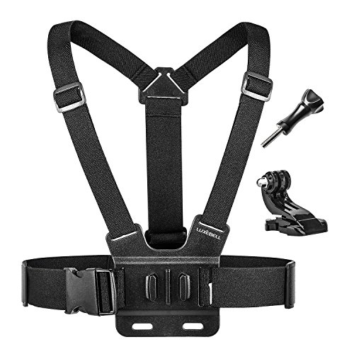 Luxebell Chest Mount Harness Strap for Gopro Hero 7 6 5 4 3 3+ Session Black Silver Fusion and Sjcam with J-Hook - Fully Adjustable Strap Size - Perfect for Most Action Sports