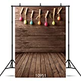 WOLADA 5x7ft Easter Egg Theme Vinyl Photography Backdrop Wood Floor Photo Background Studio Prop 10951