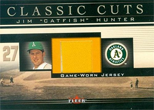 Autograph Warehouse 343301 Jim Catfish Hunter Player Worn Jersey Patch Baseball Card - Oakland Athletics 2002 Fleer Classic Cuts No. CHJ