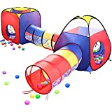 Play Tents Ball Pits, EocuSun 4 in 1 Pop Up Children Toddler Ball Pit House with 2 Tents & 2 Tunnel for Kids, Boys, Girls and Toddlers Indoor and Outdoor Playhouse with Zipper Storage Bag