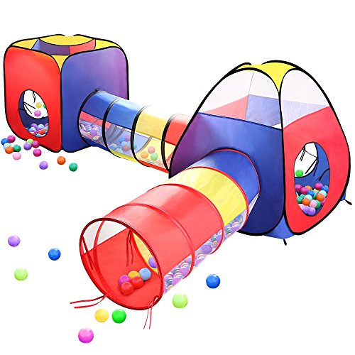 Play Tents Ball Pits, EocuSun 4 in 1 Pop Up Children Toddler Ball Pit House with 2 Tents & 2 Tunnel for Kids, Boys, Girls and Toddlers Indoor and Outdoor Playhouse with Zipper Storage Bag by EocuSun