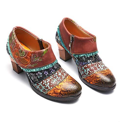 De Ville Mocassins Hauts Cuir Bohème À Printemps Talons Boots Confortable Bottines Originales Chic Escarpins Gracosy Femmes En Marron Bleu 2019 Chaussures Colorées Eté zwqdOE8