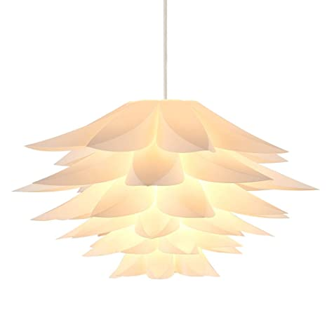 Diy Pendant Light Shades Kit Large Diameter 16 9 Inches Lampwin Iq Jigsaw Puzzle Ceiling Suspension Hanging Lamp Shade Lotus Flower For Chandelier