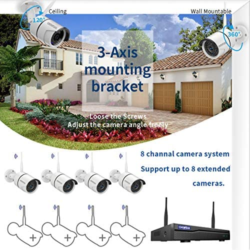 【8CH Expandable.Audio】 Security Camera System Wireless Outdoor, 8 Channel 1080P NVR with 1TB Hard Drive, 4Pcs 1080P CCTV Cameras for Home,OHWOAI Surveillance Video Security System,Outdoor IP Cameras 51aw4CRmKIL