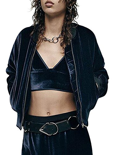 Simplee Apparel Simple de vestir mujeres Velvet Cami Tank top bustier Bra Vest Correa crop top bralette Dark Azul
