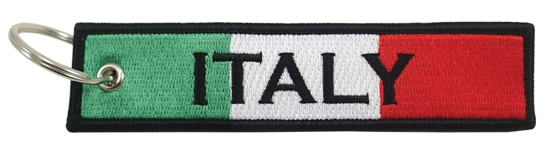 Italy Flag Key Chain 100/% Embroidered Luso VN205-JK-A