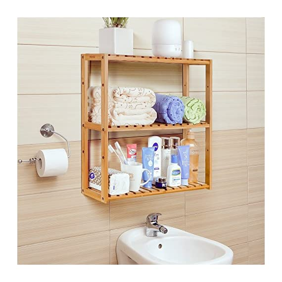 HOMFA Bamboo Bathroom Shelf 3-Tier Multifunctional Adjustable Layer Rack Wall Mounted Utility Storage Organizer Towel Shelves Kitchen Living Room Holder Natural Color - ✿GOOD MATERIAL: Made of 100% natural bamboo Eco-friendly material and some mounting accessories, this storage rack is stable, durable, well made and Eco-friendly. ✿SAFE & EFFICIENT DESIGN: With its smooth surface finish, countersink screws and rounded corners, this shelf will not cause harm to your belongings or your children. And this bamboo rack can be wall mounted or placed on the ground, very convenient and useful. ✿MULTIFUNCTIONAL USE: The bamboo shelf is suitable to be placed in the hall, living room, bedroom, balcony or on the kitchen, bathroom wall. With the 3 tiers bamboo storage shelf you can have enough space to place many your stuffs, such as toiletries, towels, sundries, shoes, books, plants, spice and small appliances, help you organize your home comfortable and tidy. - shelves-cabinets, bathroom-fixtures-hardware, bathroom - 51aw4ZNoPfL. SS570  -