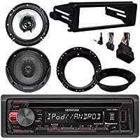 Kenwood KDC168U CD Stereo Audio Receiver - Bundle Combo With 2x Kenwood 6.5 Inch Black Coaxial Speakers W/ Adapter Brackets + Radio Dash Kit For 1998-2013 Harley Motorcycle Bikes