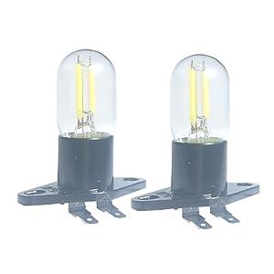 Led Filament Light 1.5w Z187 Microwave Bulb 125v 20w Equivalent Incandescent Lamps for Galanz Refrigerator Microwave Oven Electrical Range Hood Indicator Light (2 Pack, Z187 Base,5000K)