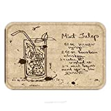 recipe fo - Flannel Microfiber Non-slip Rubber Backing Soft Absorbent Doormat Mat Rug Carpet Illustration With Hand Drawn Sketch Mint Julep Cocktail Including Recipe And Ingredients On The 230236759 for Indoor/Ou