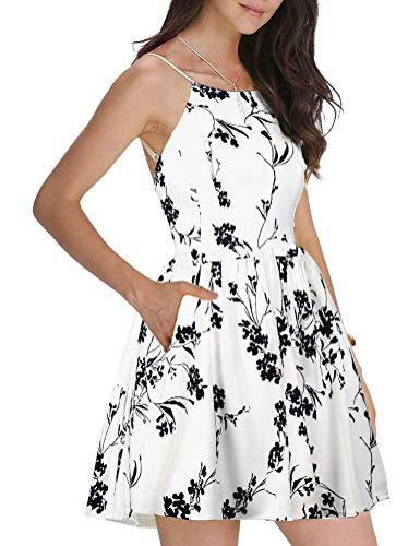 FANCYINN Women Sexy Spaghetti Strap Black Floral Print Short Mini Wedding Party Dress L - Dresses Formal Backless