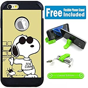 """Apple iPhone 6 Plus (5.5"""") Hybrid Armor Defender Case Cover with Flexible Phone Stand - Charlie Brown Snoopy Sunglasses"""