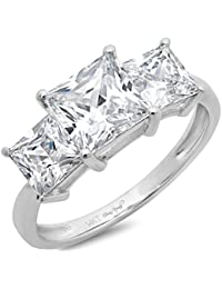 29 CT Three Stone Princess Cut Solitaire Ring Anniversary Promise Engagement Wedding Band 14K White Gold