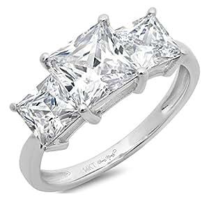 Clara Pucci 2.9 CT Three Stone Princess Cut Solitaire Ring