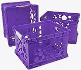 Storex Premium File Crate with Handles, 17.25 x 14.25 x 10.5'', Classroom Purple, Case of 3 (61459U03C)