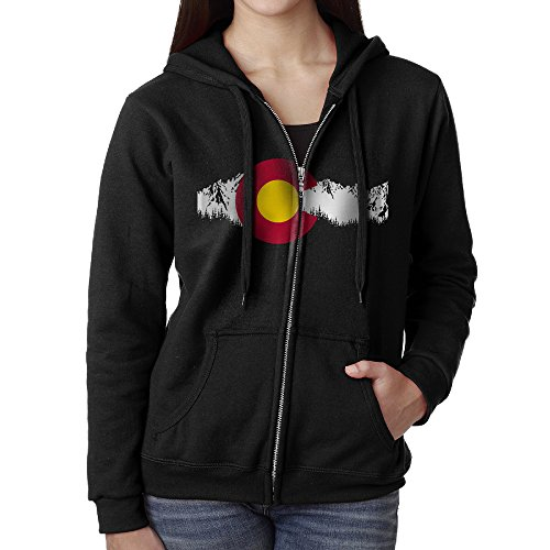 TSMPCTG Colorado State Mountain Flag Women Full Zip Pocket Sweatshirt Hoodie