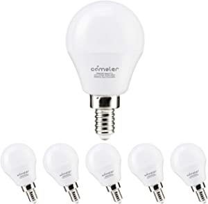 Comzler A15 LED Bulbs 60W Equivalent, Warm White 2700K, E12 Candelabra Base LED Globe Bulb for Ceiling Fan, No Dimmable,6 Pack