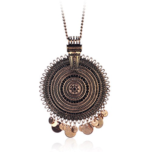 (welbijoux Exquisite Retro Multiple Layers Round Ring Antique Gold Plated Bohemian Style for Women Chain Neckalce with Rhinestone)