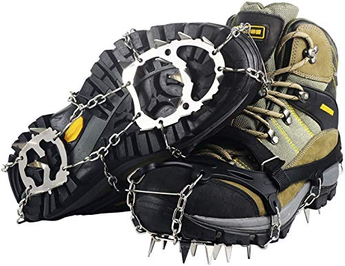 Ravifun Traction Cleats, Ice Snow Grips Anti Slip Shoes Crampons 18 Teeth Stainless Steel Spikes for Winter Walking Hiking Climbing, Size L