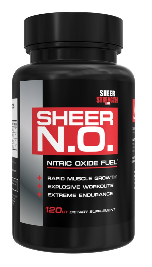 SHEER N.O. Nitric Oxide Supplement - Premium Muscle Building Nitric Oxide Booster with L Arginine - Sheer Strength Labs - 120ct by Sheer Strength Labs