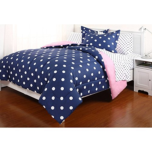 Dovedote 7 Piece Reversible Comforter and Sheet Set for All Seasons, Dottie Dot, Queen, Navy Blue/Hot Pink (Polka Dot Full Bed Sheets)