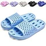 Xuanhsu Shower Shoes with Drainage Holes Quick Drying Non Slip Soft Mens and Womens Bathroom Slippers
