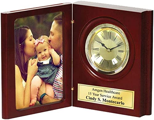 AllGiftFrames Folding Award Bookcase Photograph Engraved Desk Clock Personalized 4×6 Photo Picture Executive Employee Appreciation Gift Present Anniversary Wedding Case