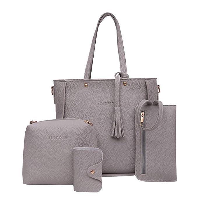 Amazon.com  Rakkiss Shoulder Bags Handbag Four Set Four Pieces Tote Bag  Crossbody Wallet Bags Black  Clothing e4fbc5a17024e