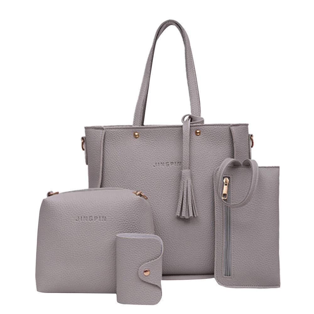 Rakkiss Shoulder Bags Handbag Four Set Four Pieces Tote Bag Crossbody Wallet Bags Gray by Rakkiss_Clearance Bag (Image #1)