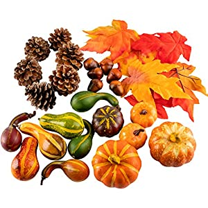 Whaline Artificial Maple Leaves, Harvest Pumpkins, Gourds, Pine Cones and Acorns Set for Autumn, Fall and Thanksgiving Home Table Decoration, 31 Pieces