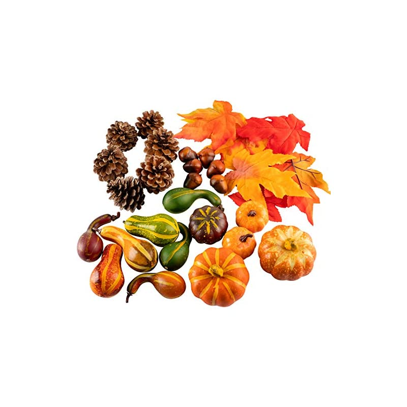 silk flower arrangements whaline thanksgiving artificial harvest pumpkins, maple leaves, gourd, pine cones and acorns set for autumn, fall and halloween home table decoration, 31 pieces