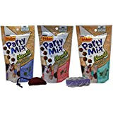 Friskies Party Mix Naturals Treats for Cats 3 Flavor Variety Bundle with 2 Toys, (1) Each: Chicken, Salmon, Tuna (2.1 Ounces)