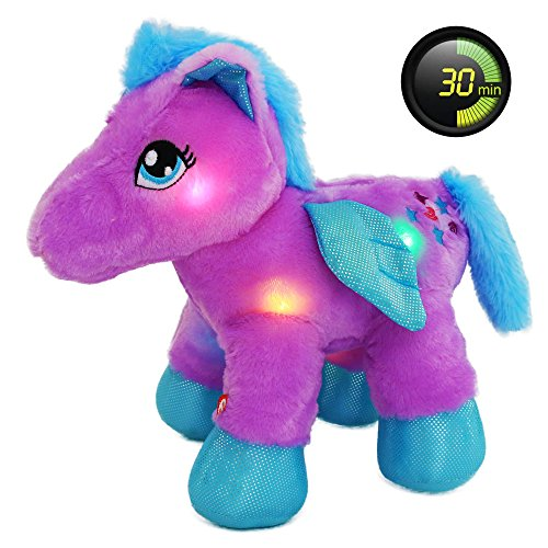 Wewill 30 Minute Timer LED Stuffed Animal Baby Pegasus the Unicorn, 11 inch, Purple